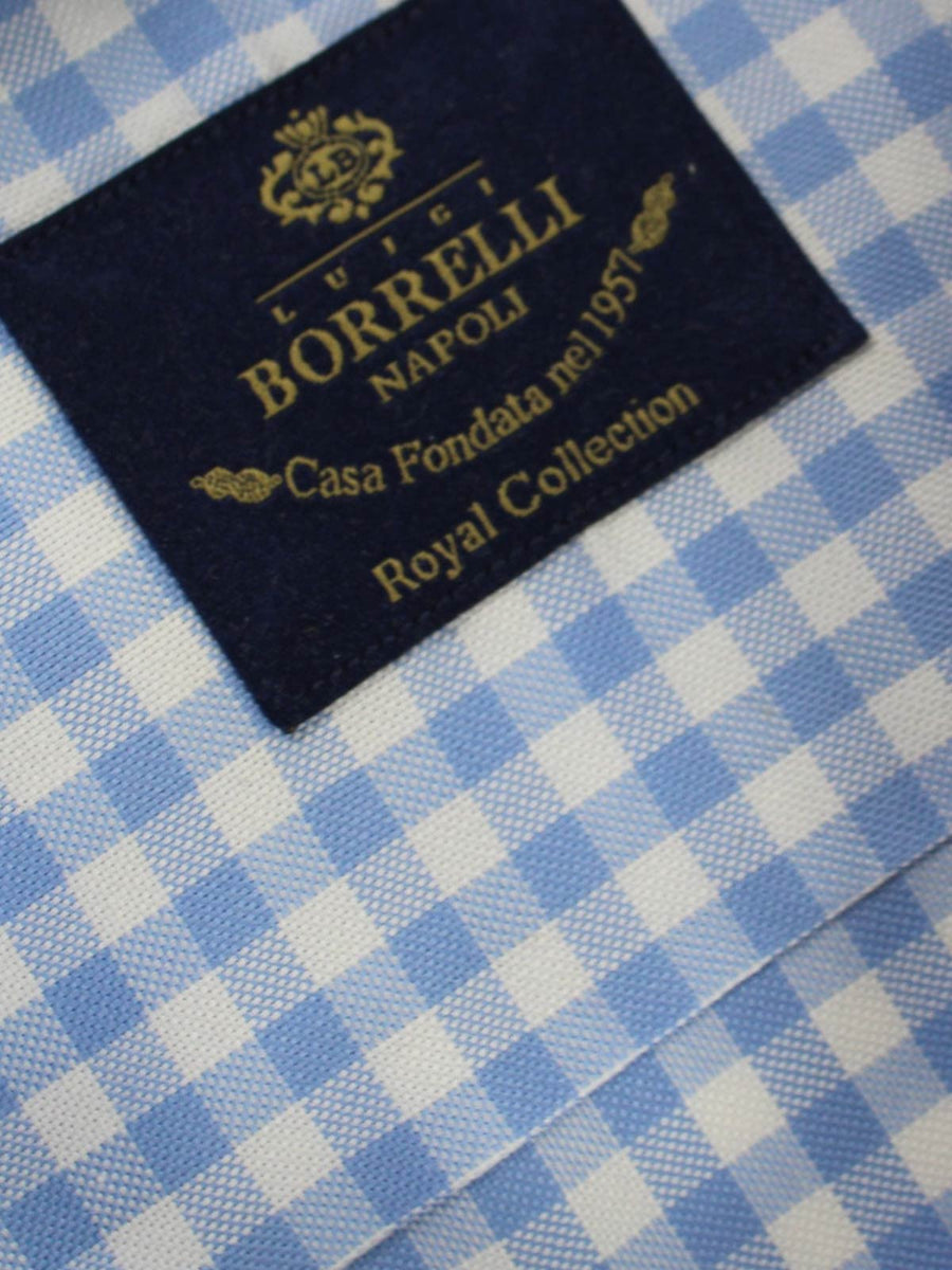 Borrelli Dress Shirt White Blue Check