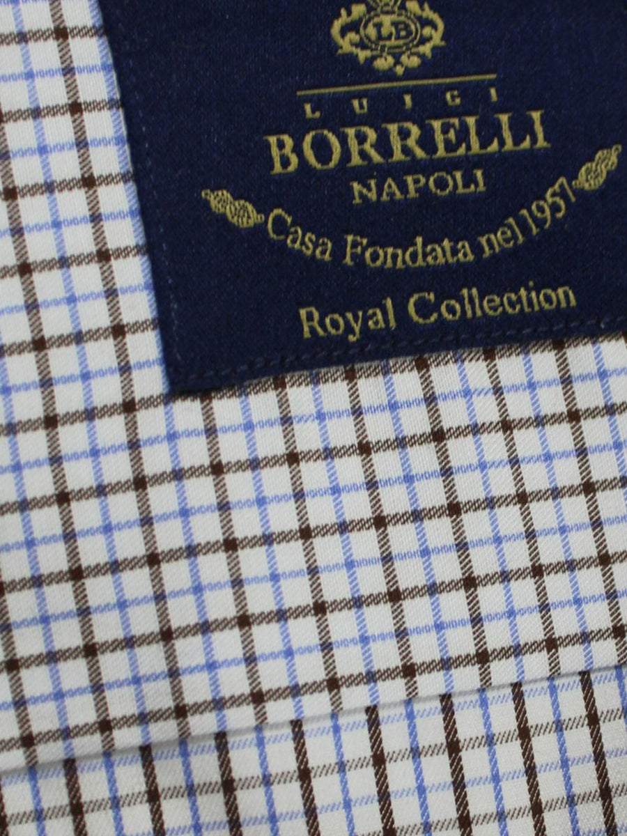 Luigi Borrelli Dress Shirt White Royal Blue Brown Tattersall