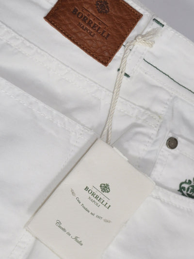 Borrelli Pants White 5 Pocket Jeans Slim Fit