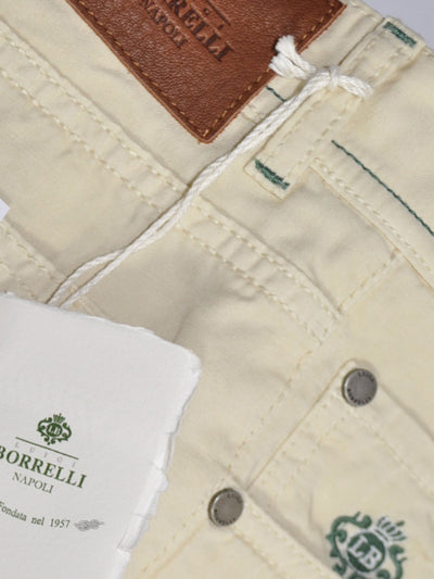 Luigi Borrelli Pants Cream 5 Pocket Jeans Slim Fit Cotton Linen