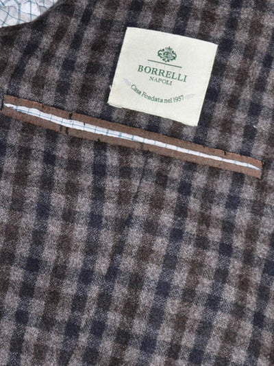 Luigi Borrelli Wool Sport Coat Gray Navy Brown Check EUR 48 R/ US 38 REDUCED - SALE