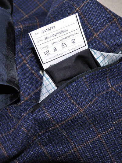 Luigi Borrelli Sport Coat Navy Windowpane Linen Wool