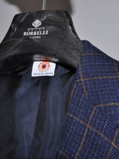 Luigi Borrelli Sport Coat Navy Brown Windowpane Wool Linen Silk EUR 50 R / US 40 REDUCED - SALE