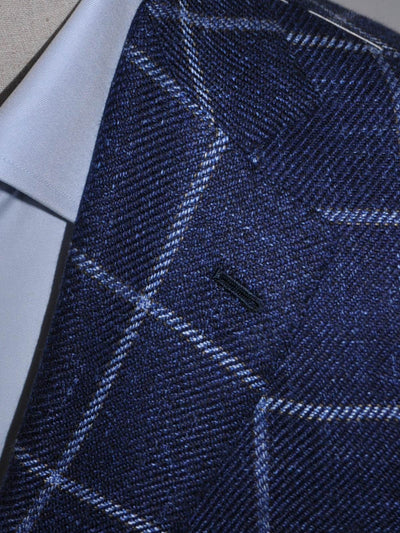 Borrelli Sport Coat Navy Blue Windowpane Wool Linen