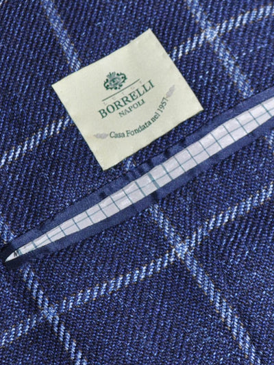 Luigi Borrelli Sport Coat Navy Blue Windowpane Wool Linen