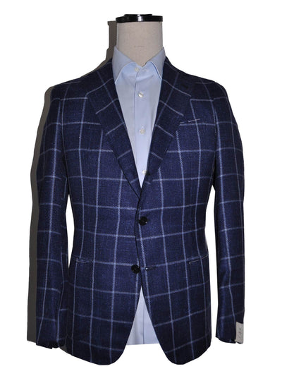Luigi Borrelli Sport Coat Navy Blue Windowpane