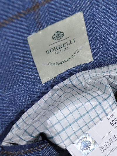 Luigi Borrelli Sport Coat Blue Windowpane Linen Silk Cotton EUR 50 R / US 40