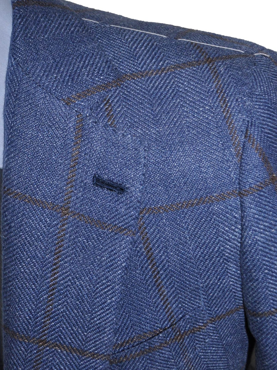 Luigi Borrelli Sport Coat Blue Windowpane Linen Silk Cotton