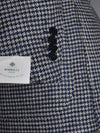 Luigi Borrelli Sport Coat Gray Midnight Blue Houndstooth Wool Silk EUR 48/ US 38 R