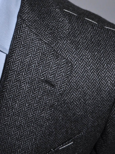New Luigi Borrelli Sport Coat Charcoal Gray Herringbone Cashmere