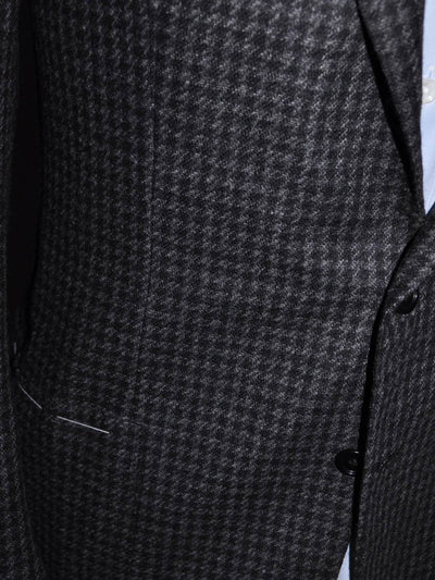 Luigi Borrelli Sport Coat Charcoal Gray Houndstooth Cashmere EUR 46 R / US 36 SALE