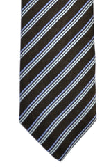 Luigi Borrelli Narrow Tie Brown Lilac Stripes SALE