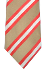 Luigi Borrelli Tie Tan Red Pink Stripes SALE