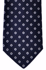 Luigi Borrelli Sevenfold Tie ROYAL COLLECTION Navy Silver Flowers