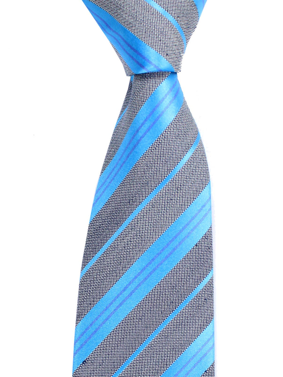 Luigi Borrelli Tie Gray Aqua Blue Stripes