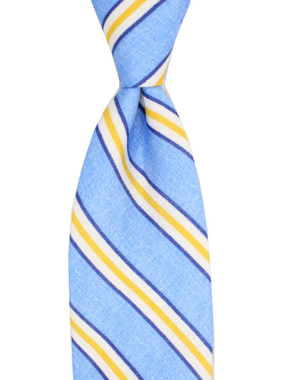 Luigi Borrelli Linen Tie Blue Yellow Stripes SALE
