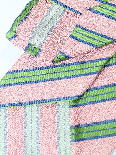 Luigi Borrelli Unlined Tie Pink Green Stripes