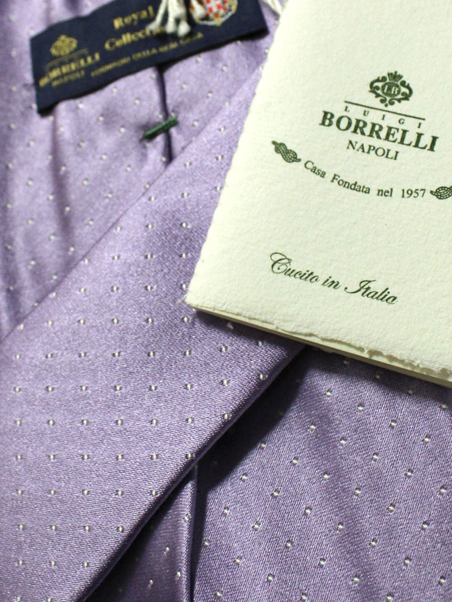 Luigi Borrelli 11 Fold Tie Purple Dots ROYAL COLLECTION Elevenfold Necktie