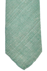 Luigi Borrelli Tie Green Gray Linen Unlined Necktie SALE