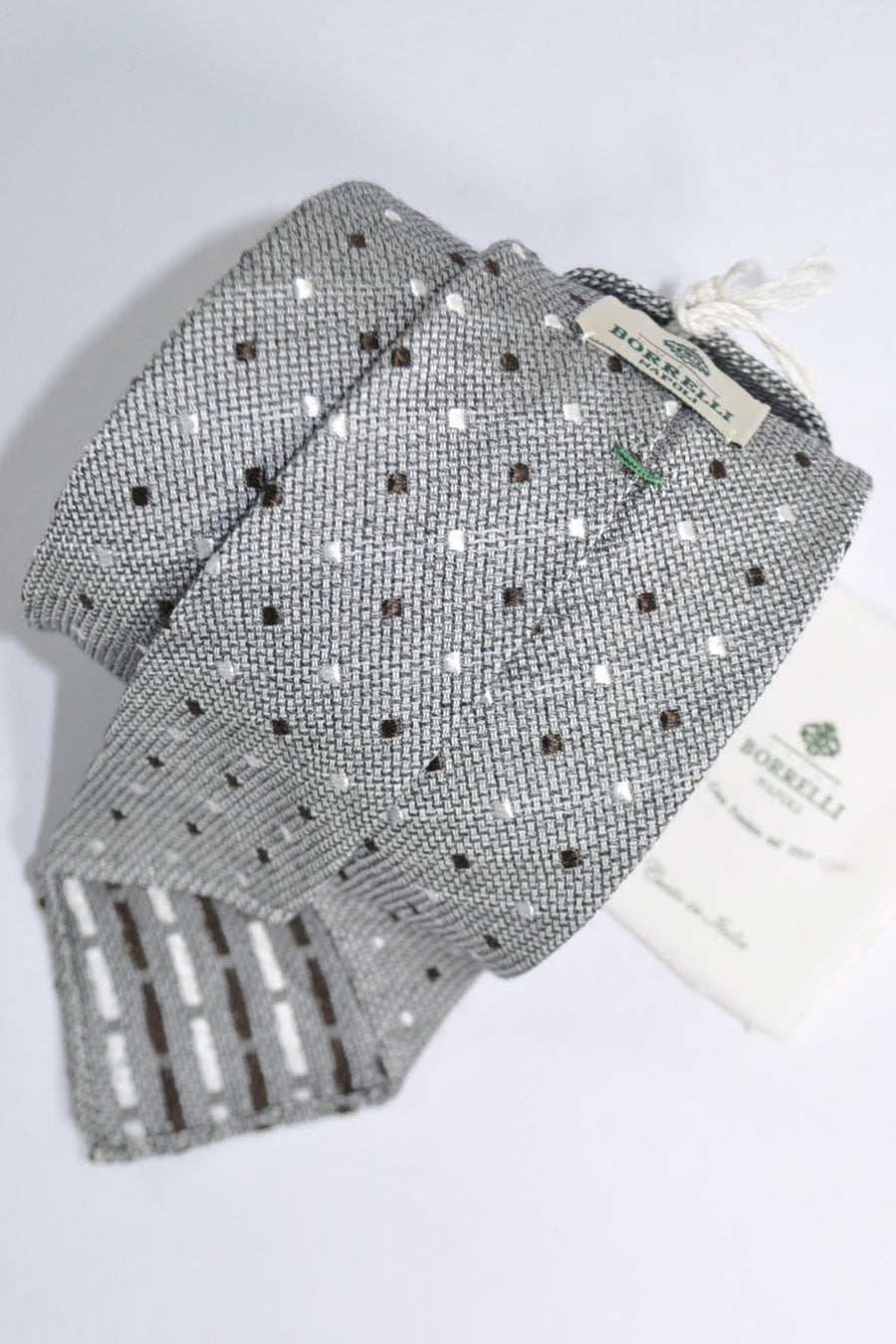 Luigi Borrelli Tie Gray Brown Silver Dots