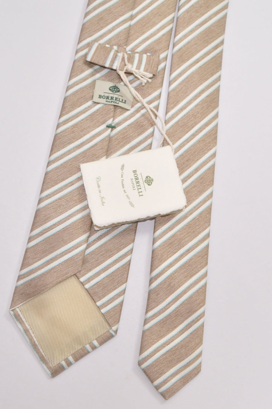 Luigi Borrelli Silk Tie Brown White Sky Blue Stripes SALE