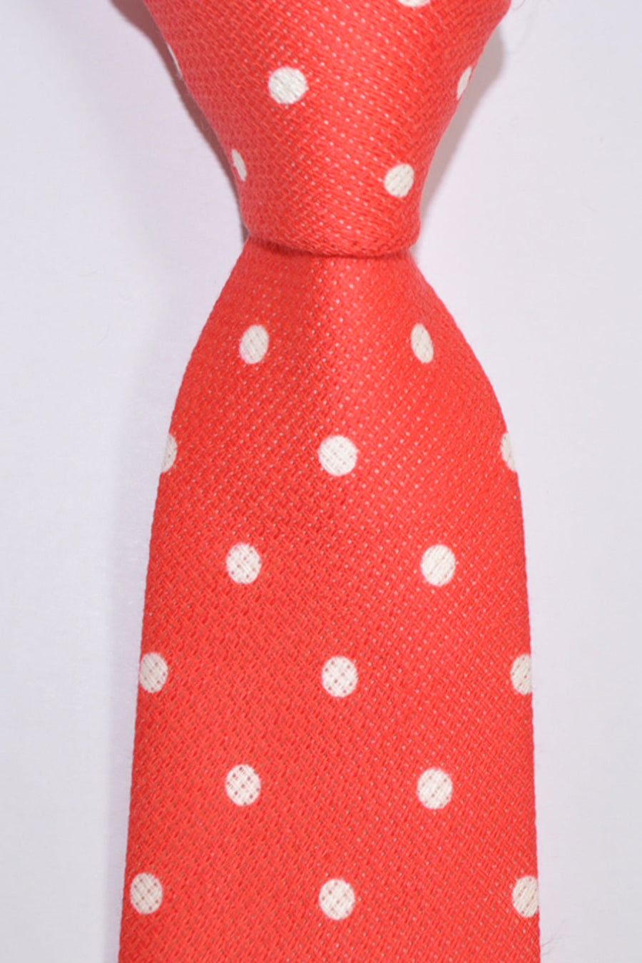 Luigi Borrelli Tie Red White Polka Dots Cotton Linen