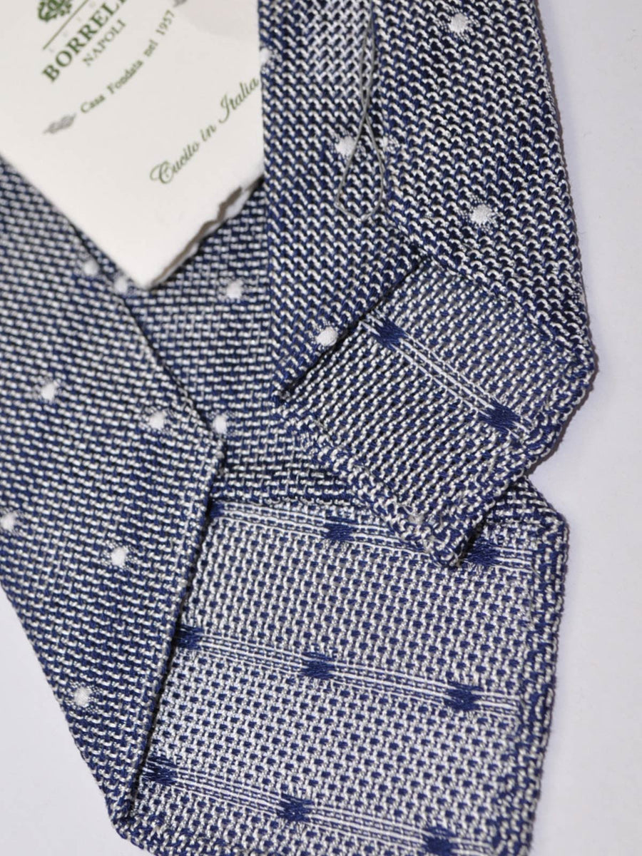 Borrelli Tie Gray Midnight Blue Dots