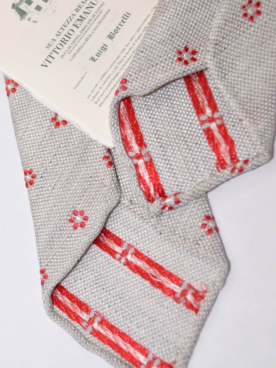 Borrelli Tie Gray Red Unlined Linen Silk