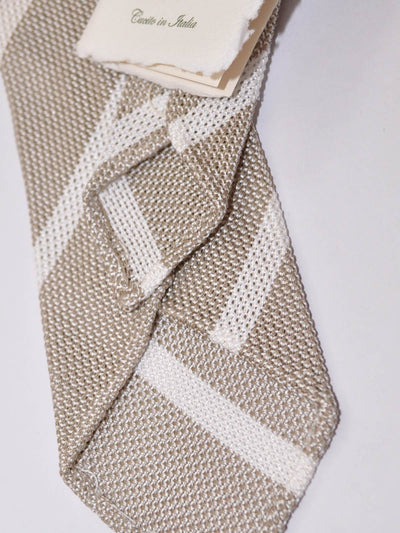 Luigi Borrelli Narrow Tie Taupe White Stripes Unlined Cotton Silk Necktie SALE