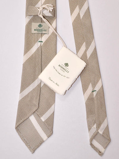 Borrelli Narrow Tie Taupe White Stripes
