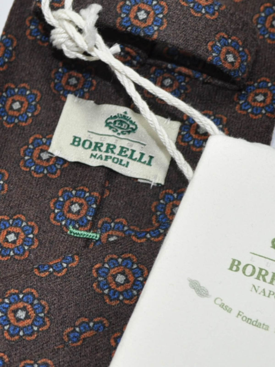 Luigi Borrelli Wool Tie Brown Geometric Flowers SALE