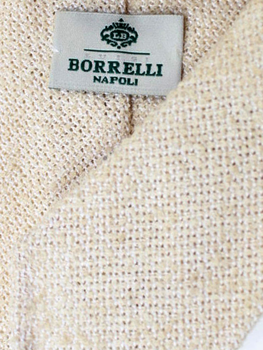 Luigi Borrelli Tie Beige Silk Cotton Linen Unlined Necktie