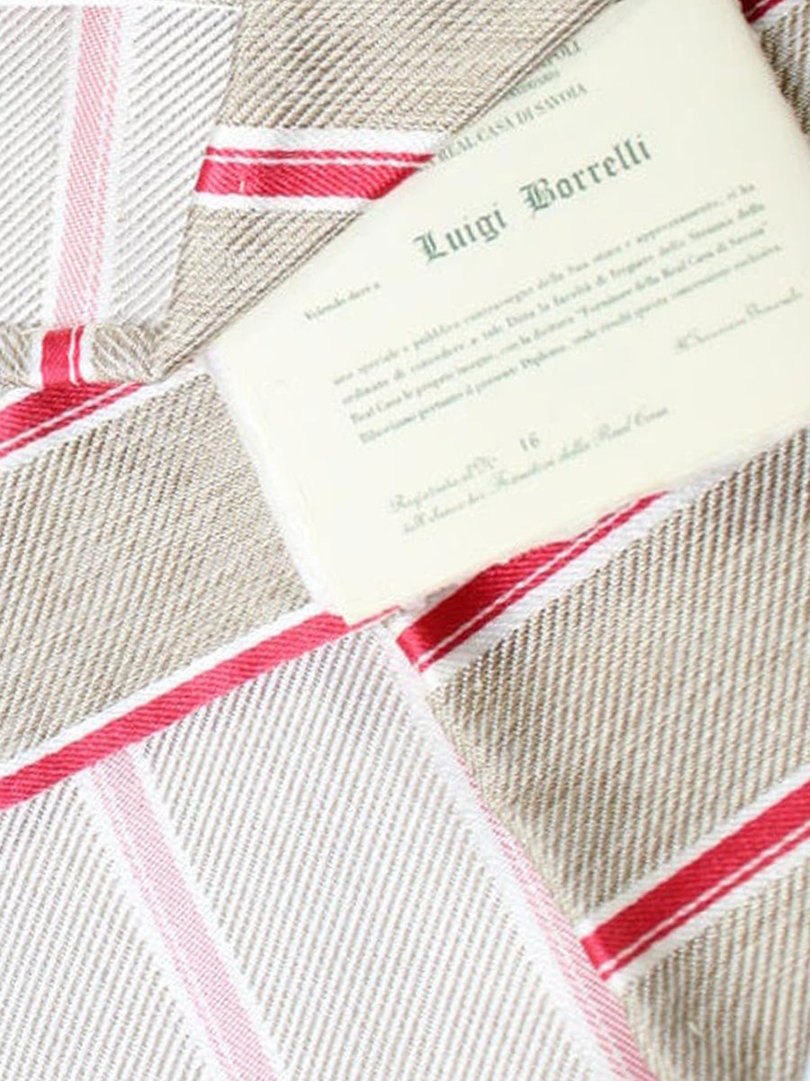 Luigi Borrelli Tie Taupe Red White Stripes Silk Unlined Necktie