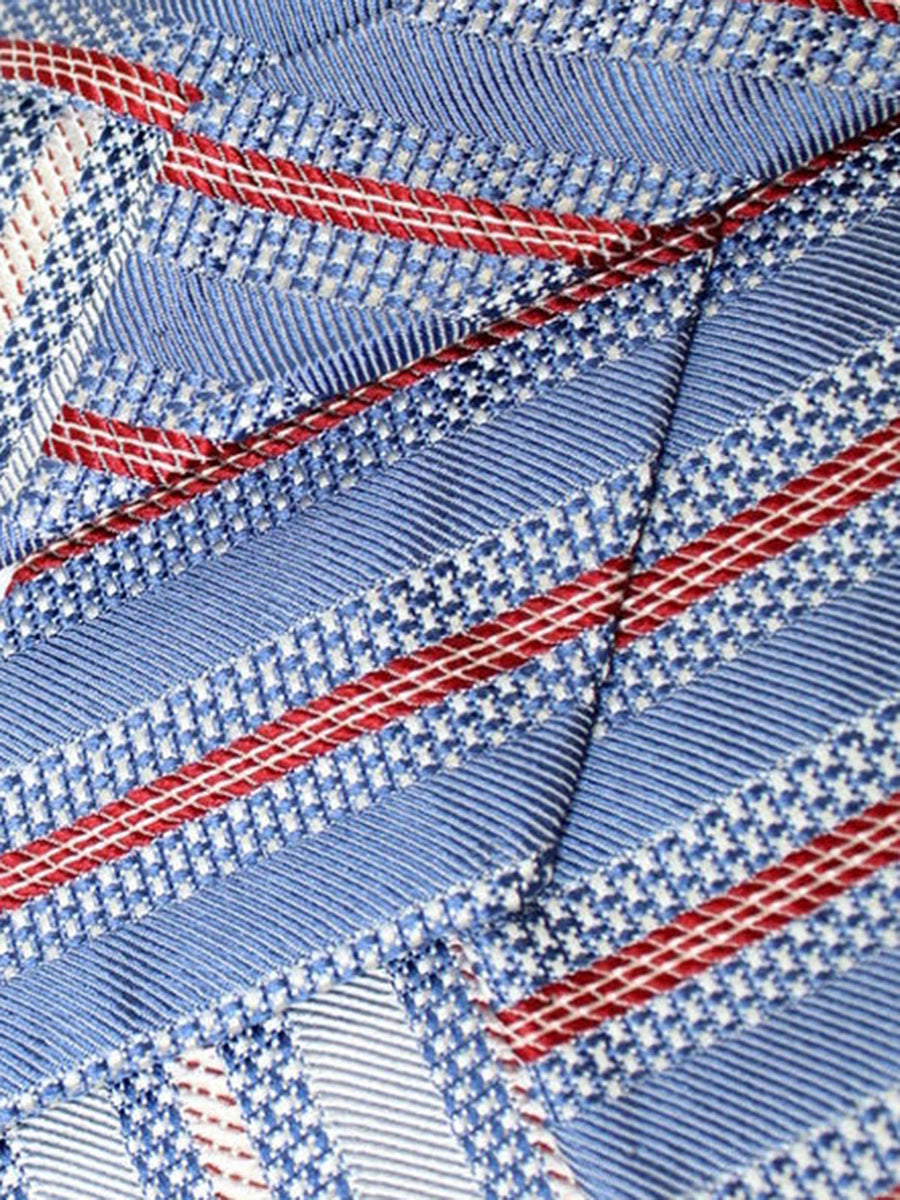 Luigi Borrelli Tie Royal Silver Red Stripes Silk Unlined Necktie