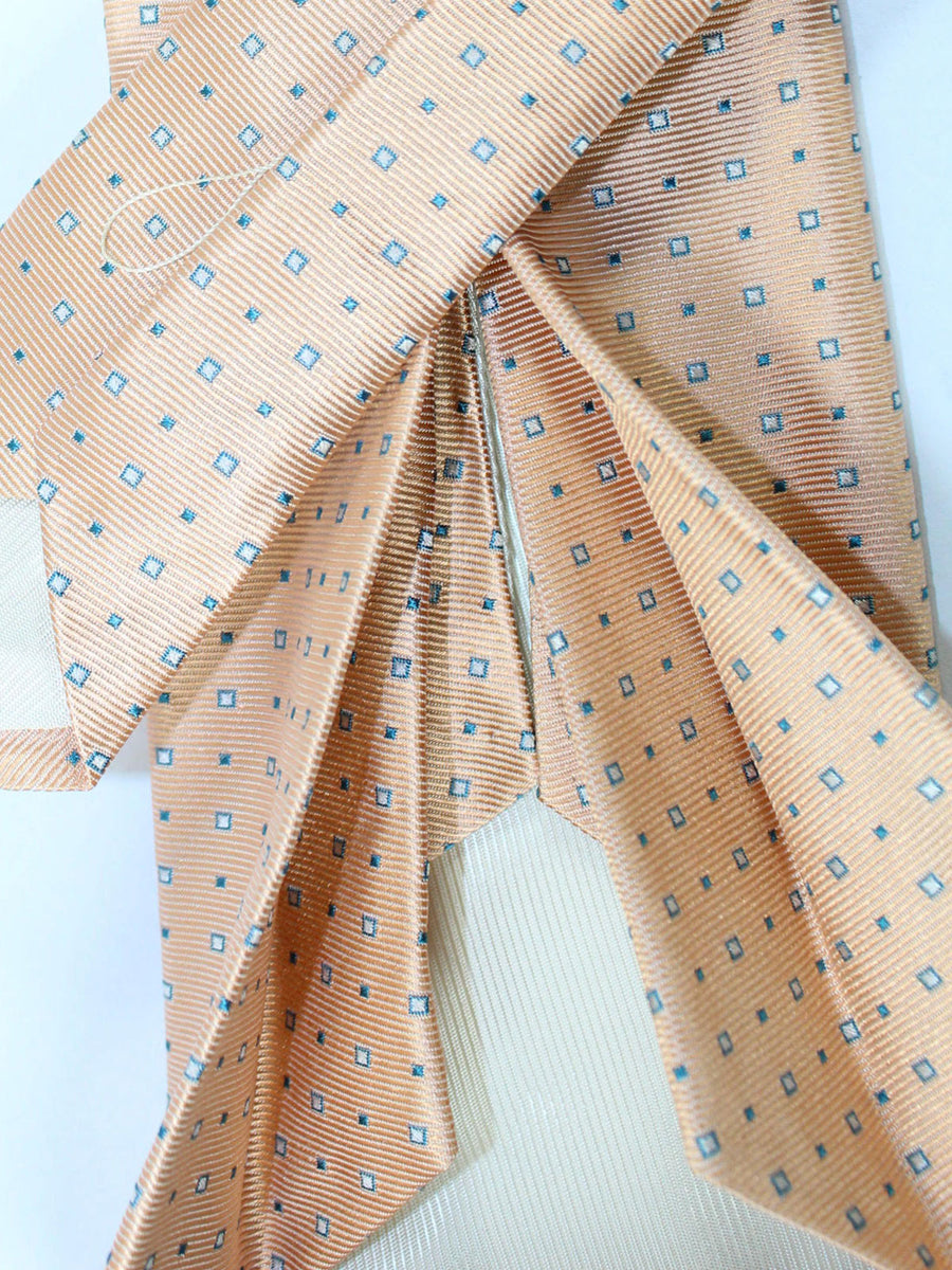 Luigi Borrelli 11 Fold Tie Peach Navy Silver Squares ROYAL COLLECTION - Elevenfold Necktie