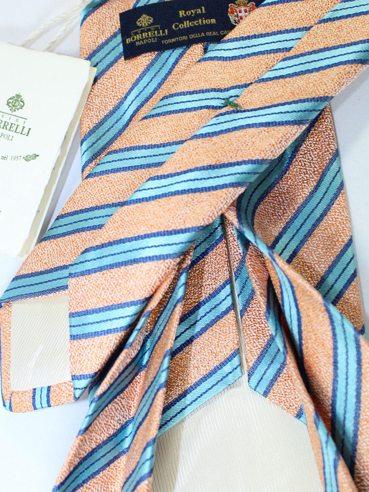 Luigi Borrelli 11 Fold Tie Peach Blue Stripes ROYAL COLLECTION - Elevenfold Necktie
