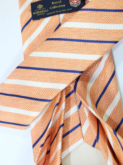 Luigi Borrelli 11 Fold Tie Peach White Royal Stripes ROYAL COLLECTION - Elevenfold Necktie