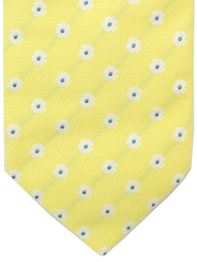 Luigi Borrelli 11 Fold Tie Yellow Silver Blue Floral ROYAL COLLECTION - Elevenfold Necktie