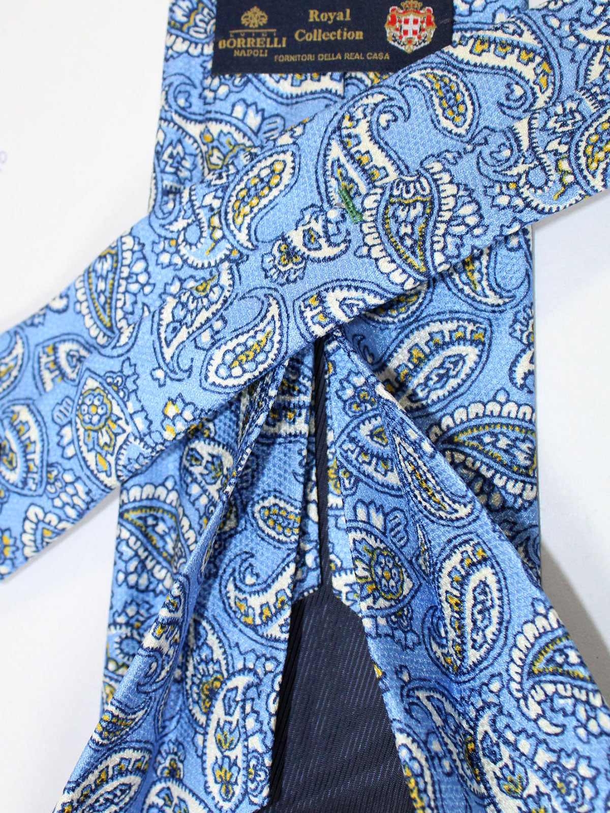 Luigi Borrelli 11 Fold Tie Blue Paisley ROYAL COLLECTION - Elevenfold Necktie