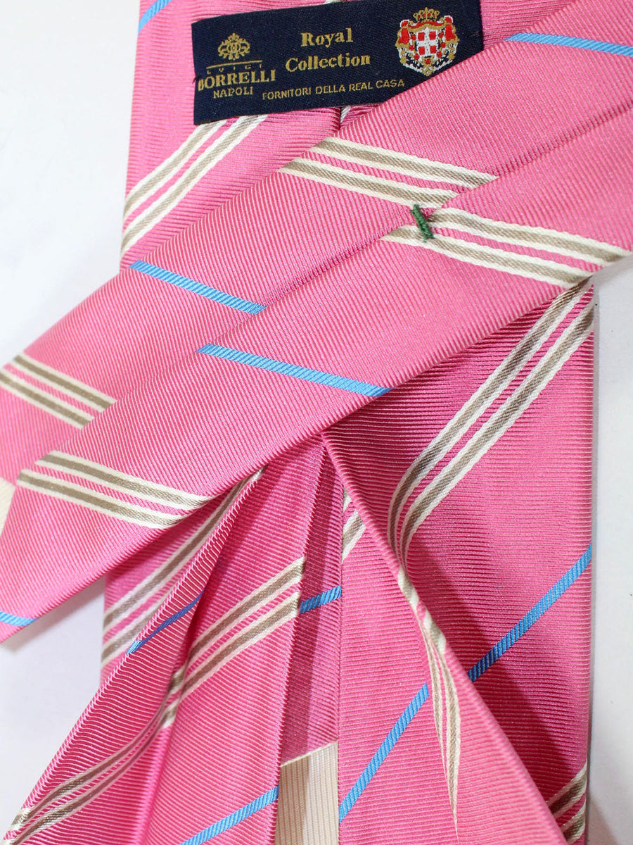 Luigi Borrelli 11 Fold Tie Pink Stripes ROYAL COLLECTION - Elevenfold Necktie