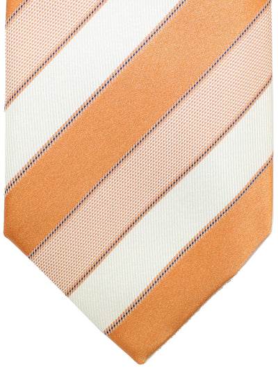 Luigi Borrelli 11 Fold Tie Orange White Stripes ROYAL COLLECTION - Elevenfold Necktie