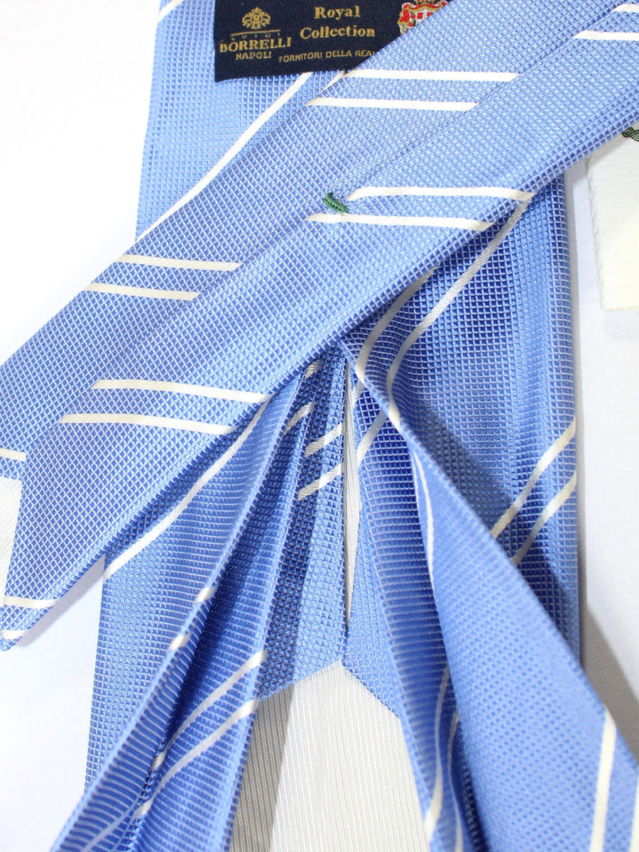 Luigi Borrelli 11 Fold Tie Blue White Stripes ROYAL COLLECTION - Elevenfold Necktie