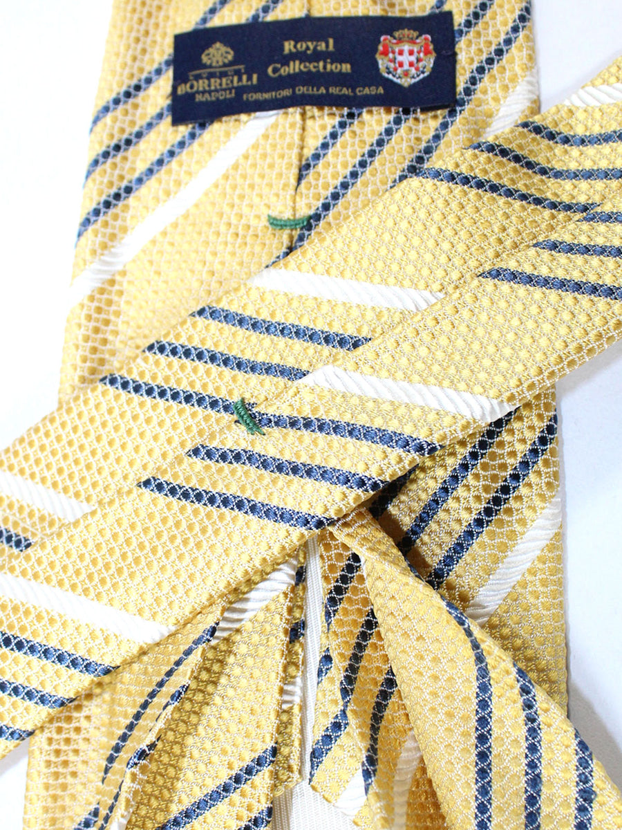 Luigi Borrelli 11 Fold Tie Mustard Yellow Stripes ROYAL COLLECTION - Elevenfold Necktie