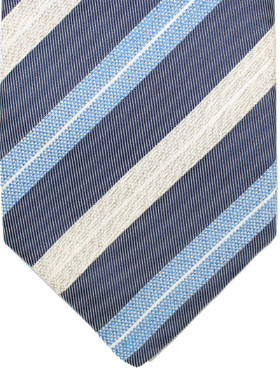 Luigi Borrelli 11 Fold Tie Dark Blue Blue Silver Stripes ROYAL COLLECTION - Elevenfold Necktie