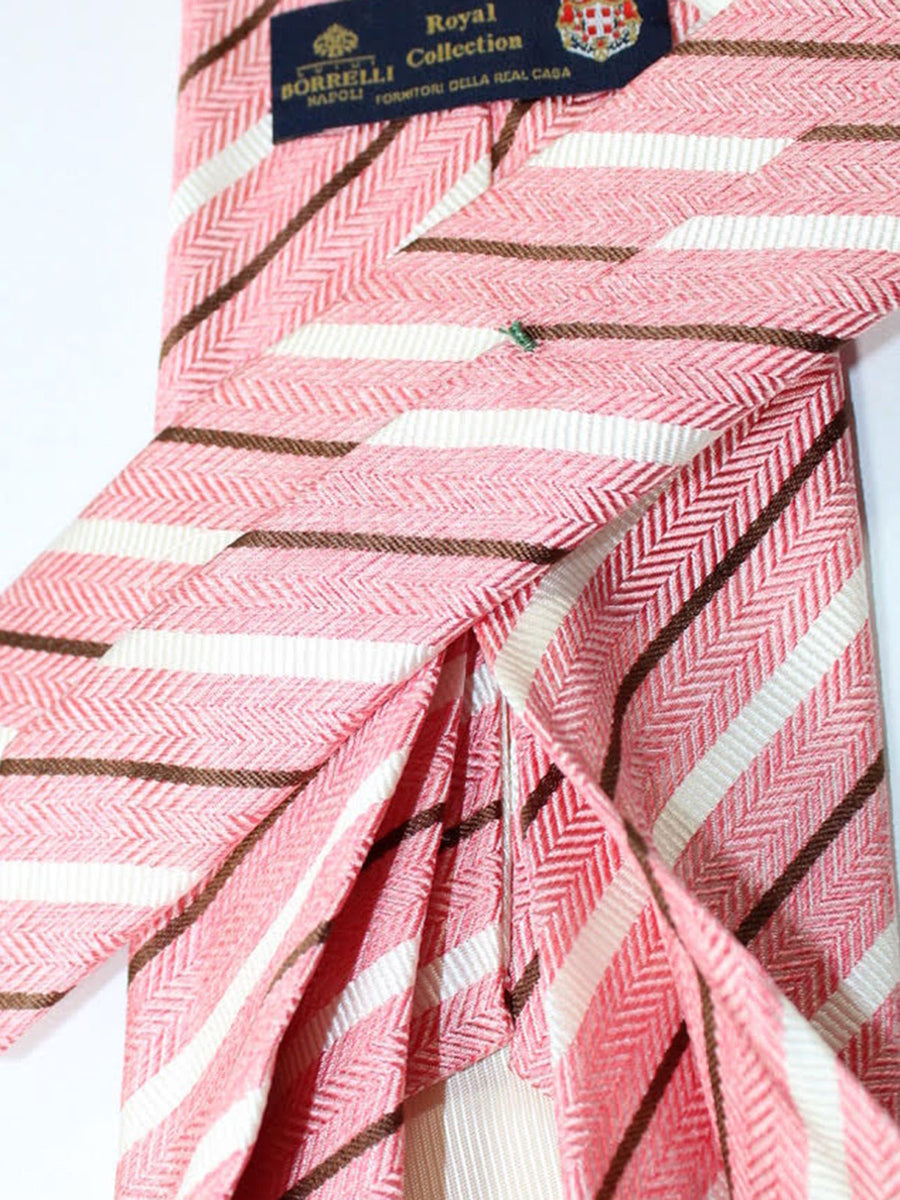 Luigi Borrelli 11 Fold Tie Pink Brown Stripes ROYAL COLLECTION - Elevenfold Necktie