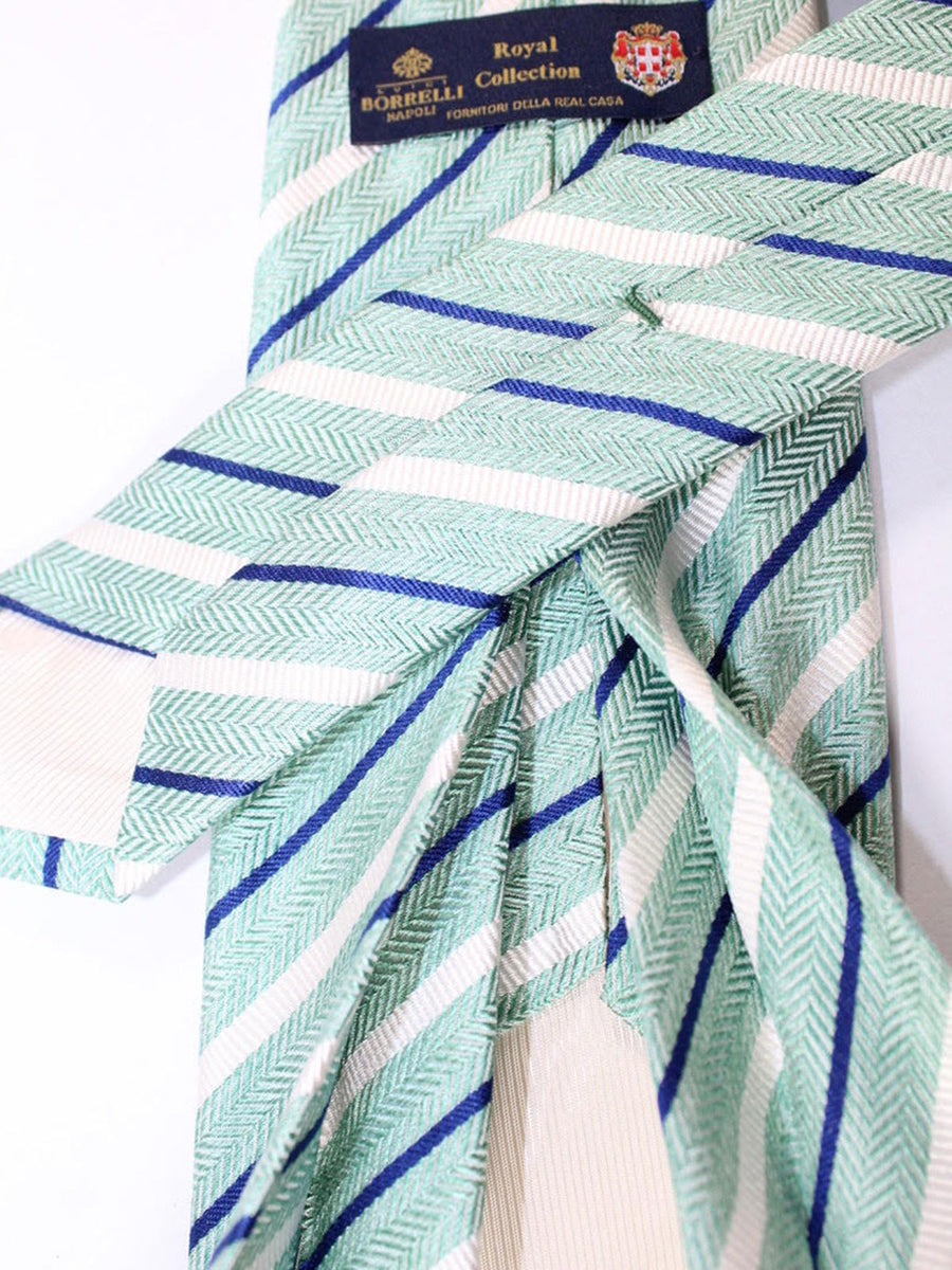 Luigi Borrelli 11 Fold Tie Mint Royal Stripes ROYAL COLLECTION - Elevenfold Necktie