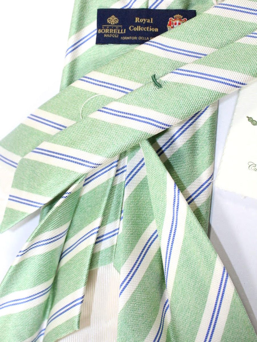 Luigi Borrelli 11 Fold Tie Mint Green Royal Stripes ROYAL COLLECTION - Elevenfold Necktie