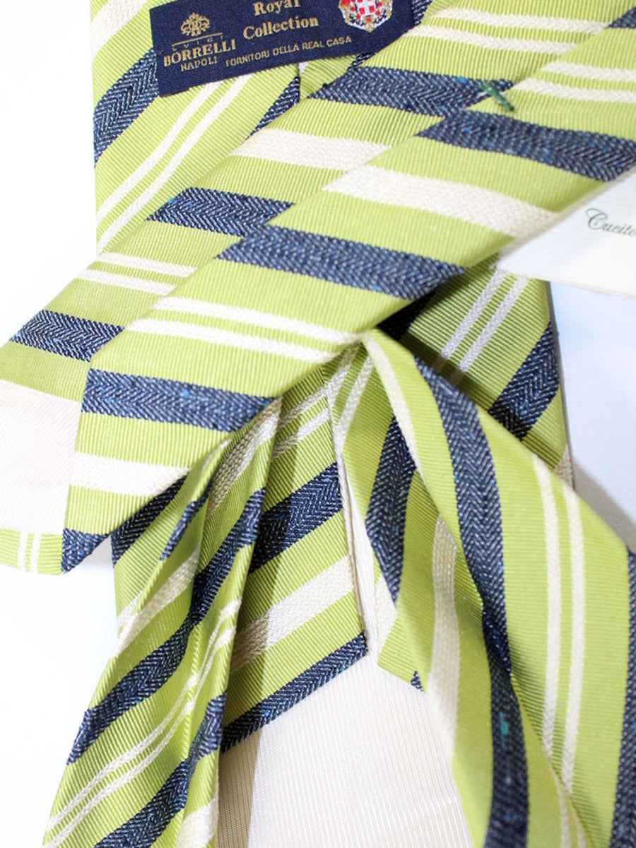 Luigi Borrelli 11 Fold Tie Green Navy Silver Stripes ROYAL COLLECTION - Elevenfold Necktie