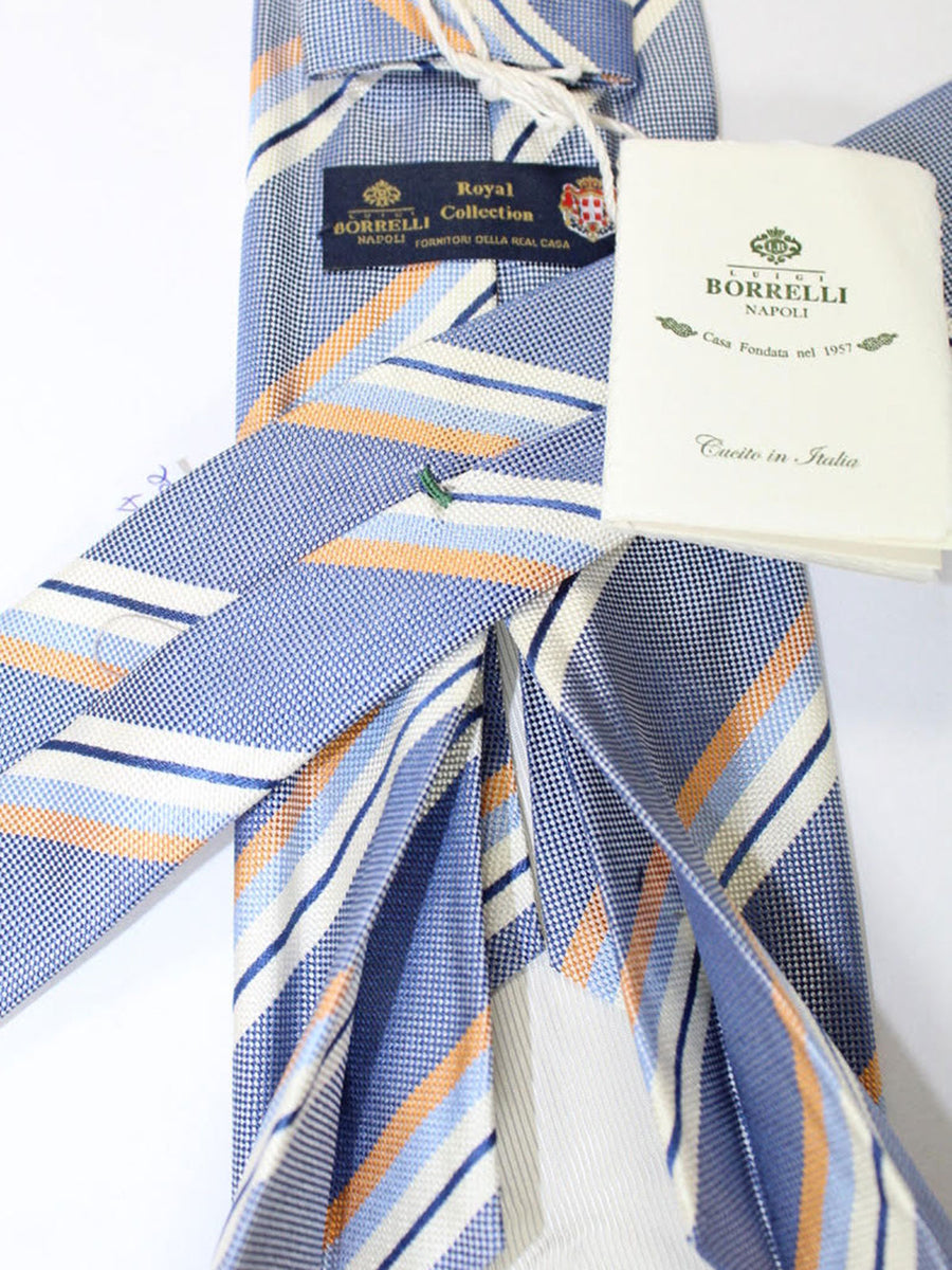 Luigi Borrelli 11 Fold Tie Blue White Silver Peach Stripes ROYAL COLLECTION - Elevenfold Necktie