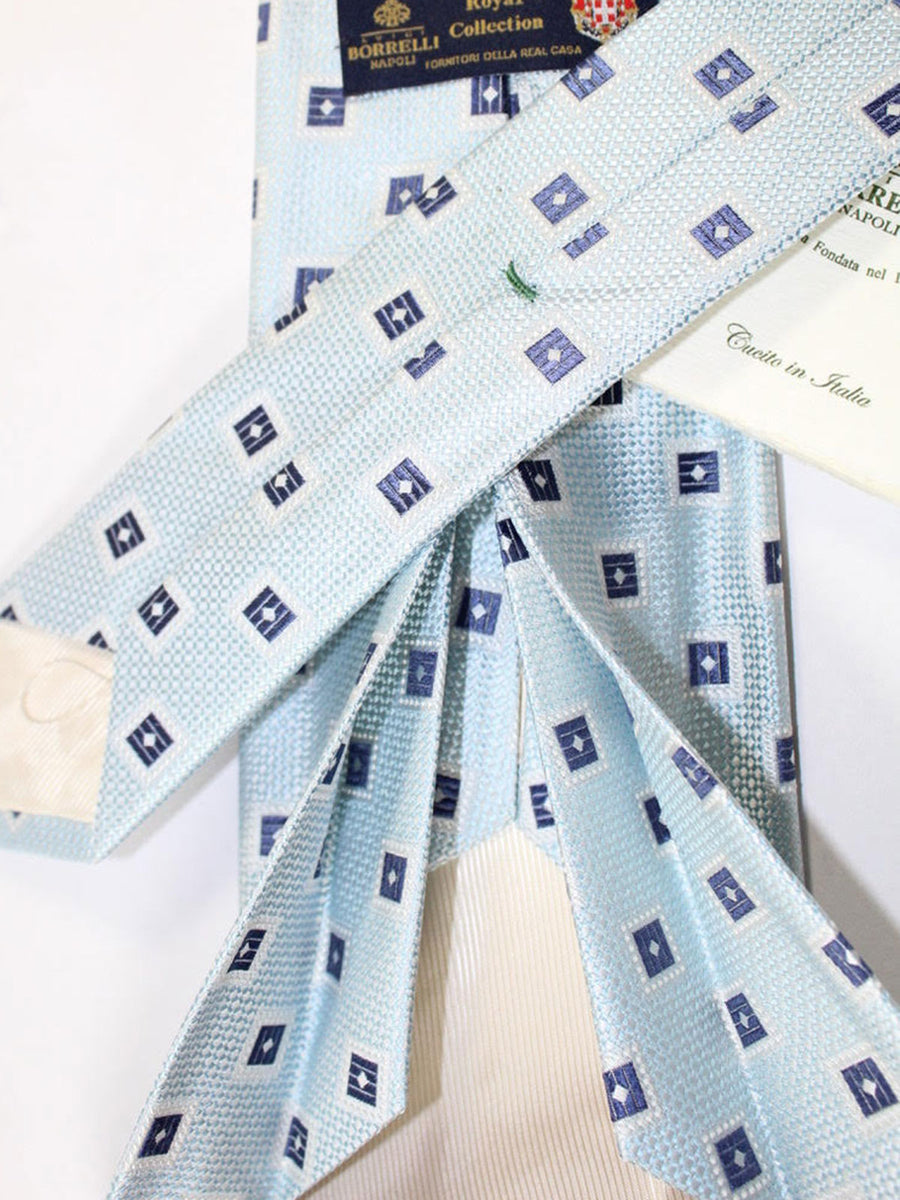 Luigi Borrelli 11 Fold Tie Sky Blue Silver Geometric ROYAL COLLECTION - Elevenfold Necktie